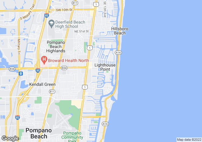 Map for USA - Florida, Broward County, Lighthouse Point