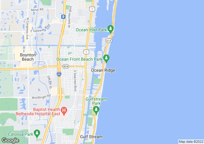 Map for Ocean Ridge, Palm Beach County, Florida