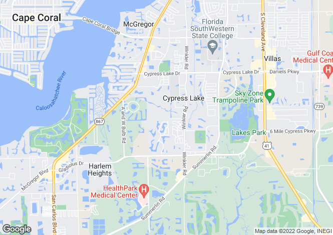 Map for USA - Florida, Lee County, Fort Myers
