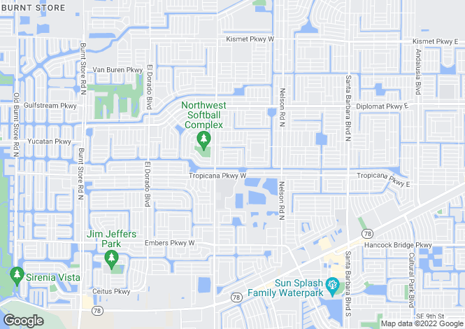 Map for Cape Coral, Lee County, Florida