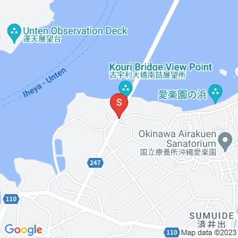 古宇利大橋へと向かう道の地図