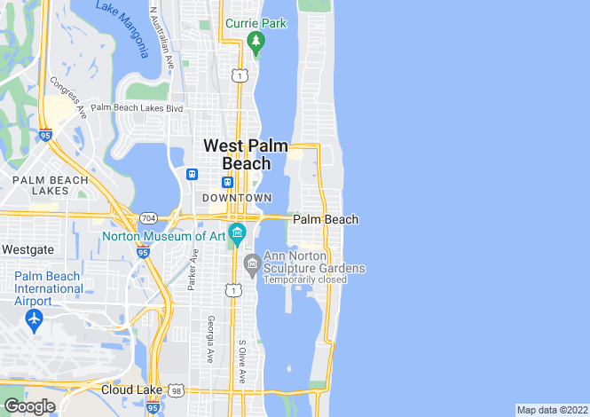 Map for USA - Florida, Palm Beach County, Palm Beach