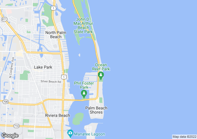 Map for Florida, Palm Beach County, Singer Island