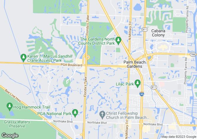 Map for Palm Beach Gardens, Palm Beach County, Florida