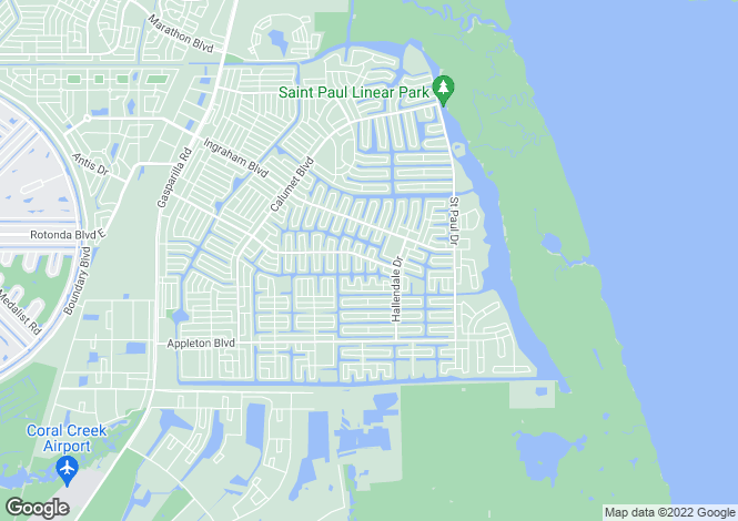 Map for South Gulf Cove, Charlotte County, Florida