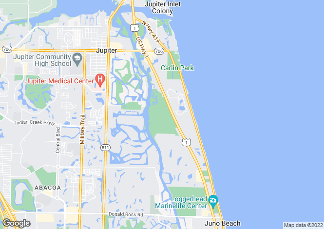 Map for Jupiter, Palm Beach County, Florida