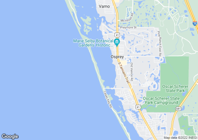 Map for Florida, Sarasota County, Osprey