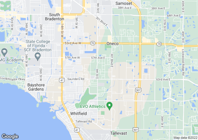Map for Florida, Manatee County, Bradenton