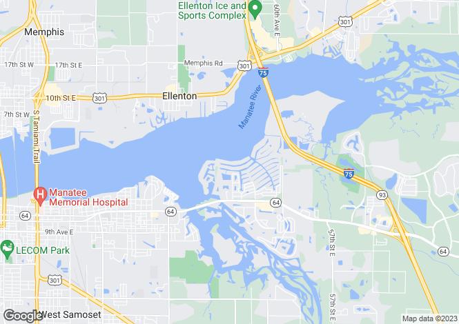 Map for USA - Florida, Manatee County, Bradenton