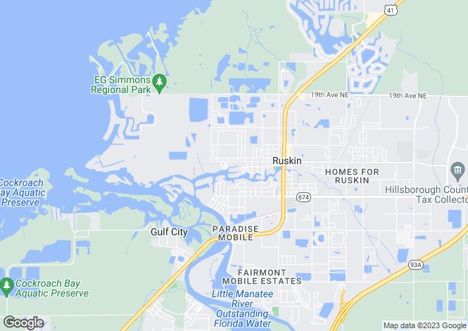 Map for USA - Florida, Hillsborough County, Ruskin