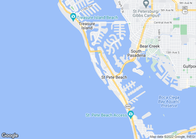 Map for USA - Florida, Pinellas County, Treasure Island