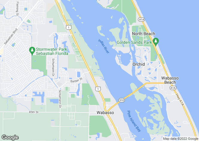 Map for Florida, Indian River County, Sebastian