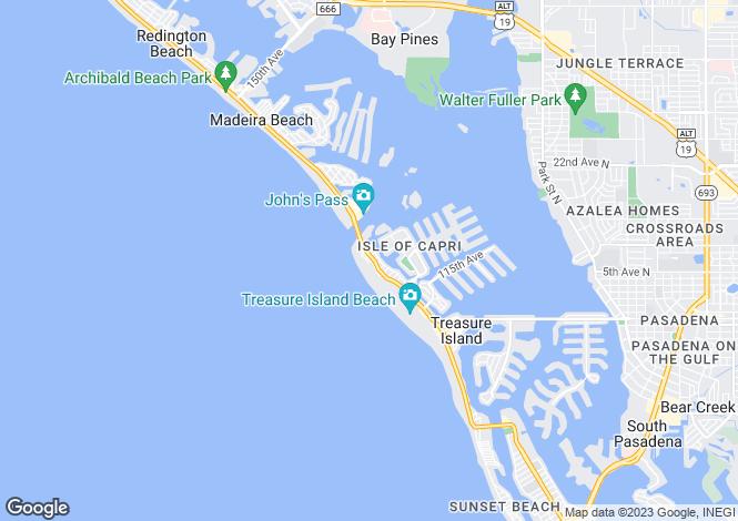 Map for USA - Florida, Pinellas County, Treasure Island