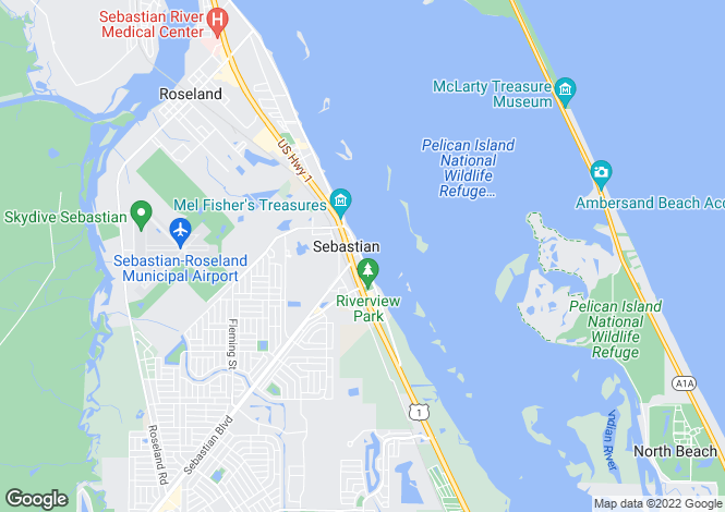 Map for USA - Florida, Indian River County, Sebastian