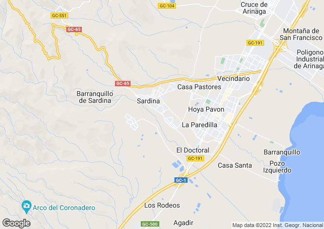 Map for Vecindario, Gran Canaria, Canary Islands