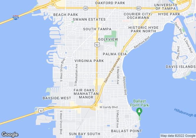 Map for USA - Florida, Hillsborough County, Tampa