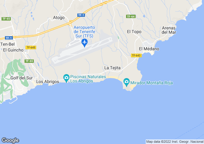 Map for Canary Islands, Tenerife, El Medano