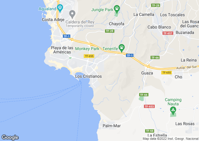 Map for Canary Islands, Tenerife, Los Cristianos