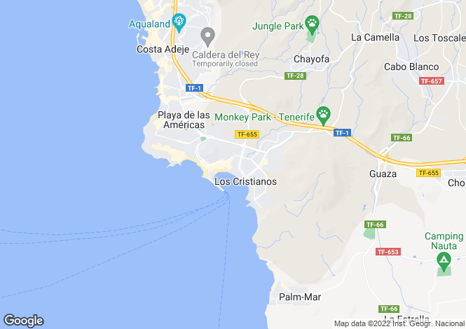 Map for Sotavento, Los Cristianos, Tenerife, Spain