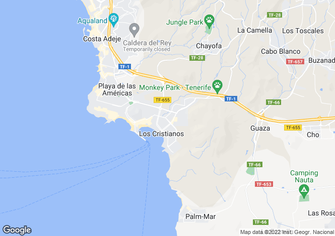 Map for Funchal, Los Cristianos, Tenerife, Spain