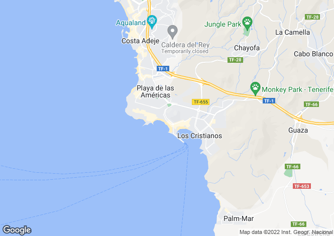 Map for Los Cristianos, Tenerife, Spain