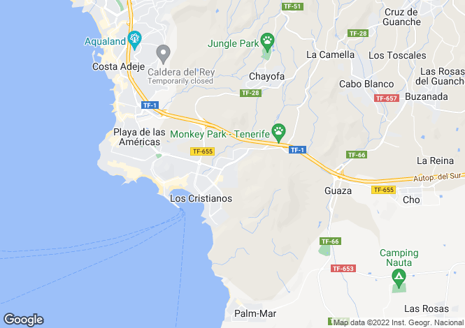 Map for Los Cristianos, Tenerife, Canary Islands