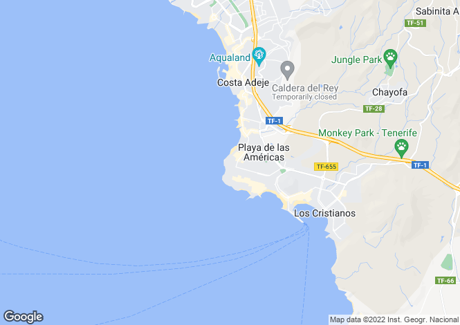 Map for Canary Islands, Tenerife, Playa de las Americas