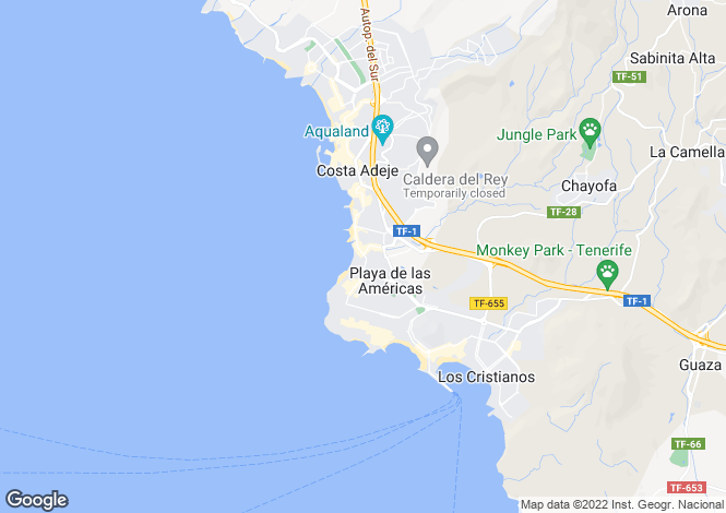 Map for Playa de las Americas, Tenerife, Canary Islands