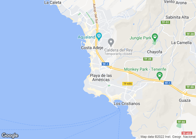 Map for Playa Azul, Playa De Las Americas, Tenerife, Spain