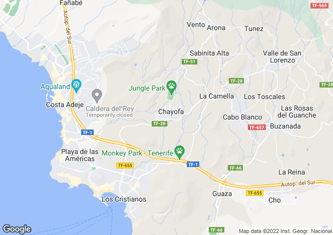 Map for Canary Islands, Tenerife, Chayofa