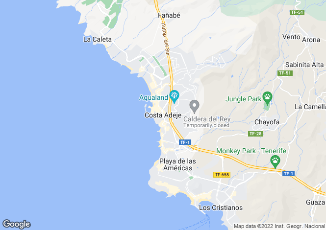 Map for Costa Adeje, Tenerife, Canary Islands