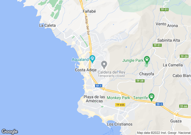 Map for Holiday Valley, San Eugenio Alto, Tenerife, Spain