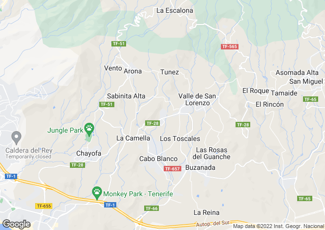 Map for Canary Islands, Tenerife, La Florida (Arona)