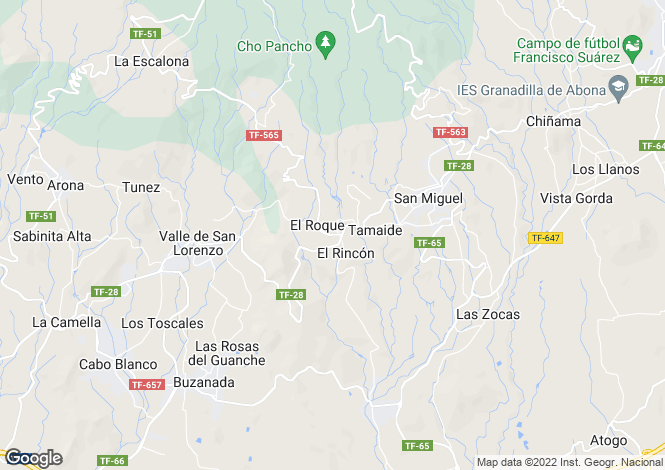 Map for El Roque, Tenerife, Spain