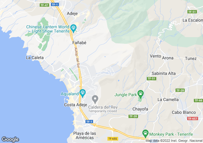 Map for Canary Islands, Tenerife, Roque Del Conde