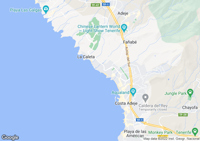 Map for Canary Islands, Tenerife, Playa del Duque