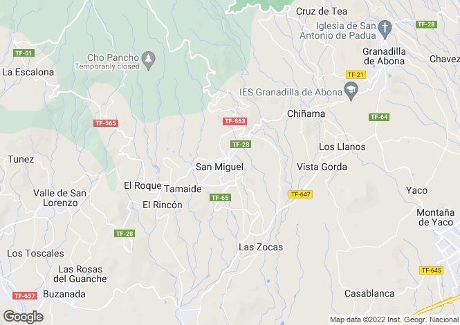 Map for Canary Islands, Tenerife, San Miguel De Abona