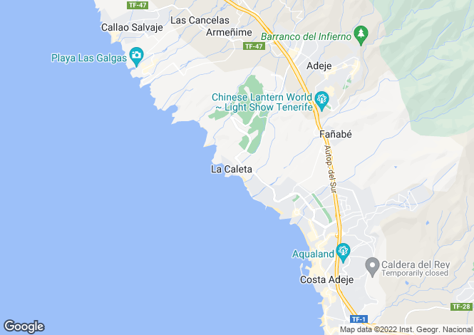 Map for La Caleta, Tenerife, Canary Islands