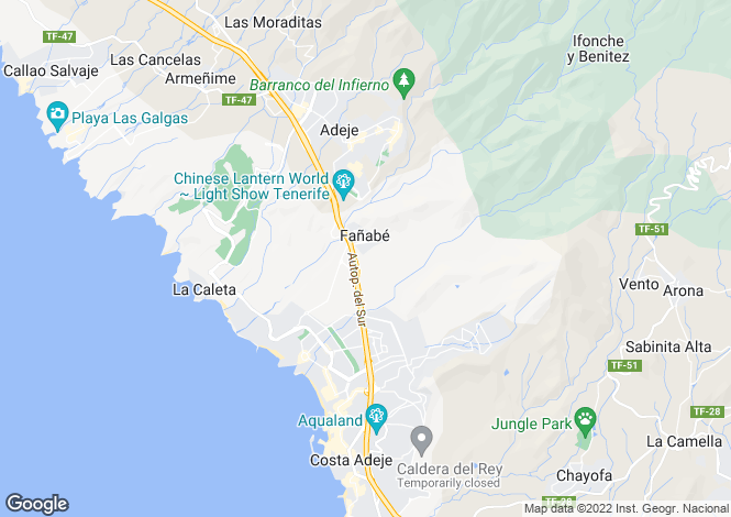 Map for Fanabe, Tenerife, Canary Islands