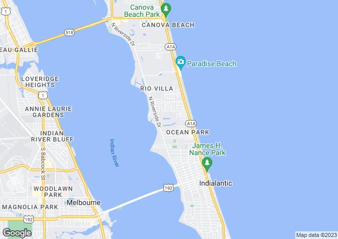 Map for USA - Florida, Brevard County, Indialantic