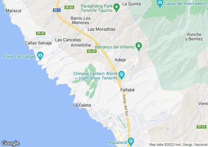 Map for Canary Islands, Tenerife, La Caleta