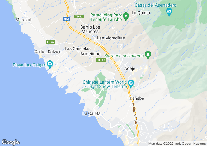 Map for Canary Islands, Tenerife, Playa Fanabe
