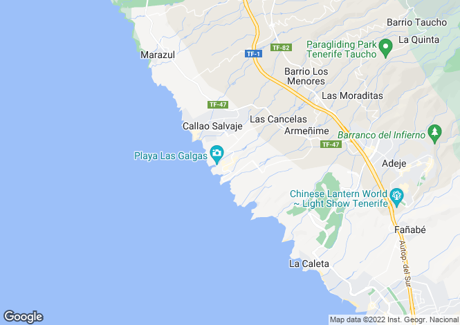 Map for Canary Islands, Tenerife, Playa Paraiso