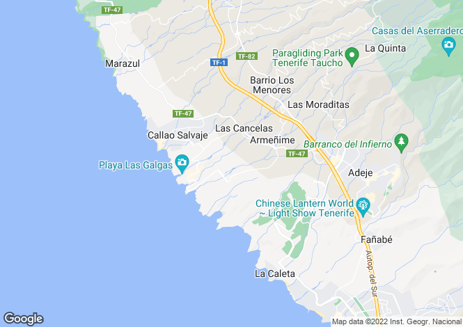 Map for Playa Paraiso, Tenerife, Canary Islands