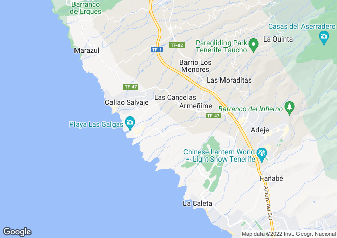 Map for Canary Islands, Tenerife, Adeje