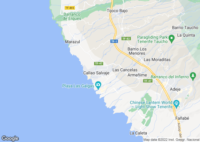 Map for Canary Islands, Tenerife, Callao Salvaje