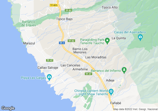 Map for Canary Islands, Tenerife, Los Menores