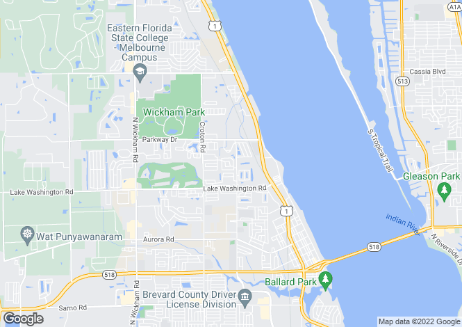 Map for USA - Florida, Brevard County, Melbourne