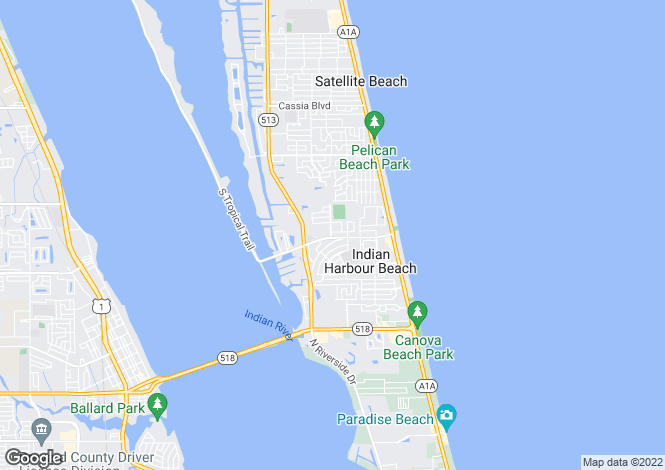 Map for USA - Florida, Brevard County, Indian Harbour Beach