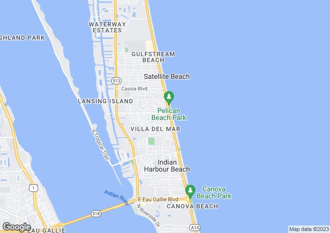 Map for USA - Florida, Brevard County, Satellite Beach